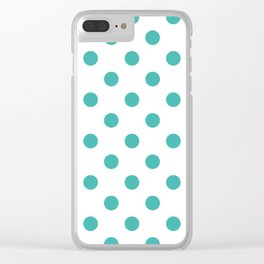 Polka Dots - Verdigris on White Clear iPhone Case