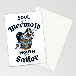 """""""Soul Of A Mermaid, Mouth Of A Sailor"""" Cute & Funny Tattoo Style Design Stationery Cards"""