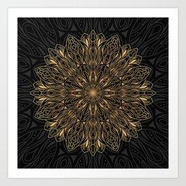 MANDALA IN BLACK AND GOLD Art Print