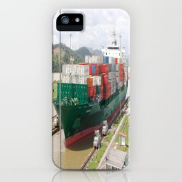 A cargo ship crossing the Miraflores locks at the Panama Canal iPhone Case