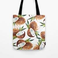 coconut wishes Tote Bags featuring Coconut by Vale Bocchi