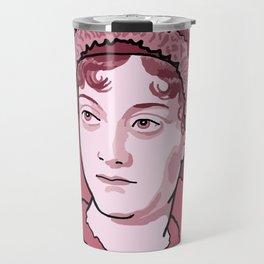 Jane Austen Red Pink Travel Mug