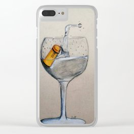 A glass of water with a cork in it Clear iPhone Case