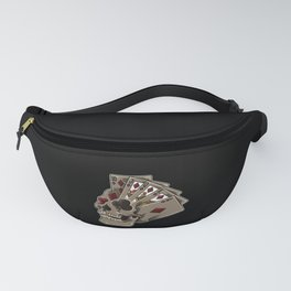 Poker Skull | Card Dealer Gambler Luck Jackpot Fanny Pack
