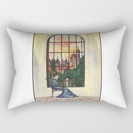 Woman and window Rectangular Pillow