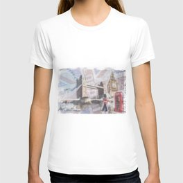 london collage - blue T-shirt