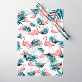 Summer Flamingo Palm Vibes #1 #tropical #decor #art #society6 Wrapping Paper