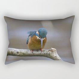 Kingfisher in the rain Rectangular Pillow