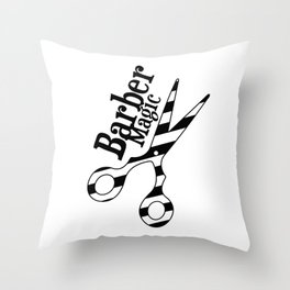 Barber Magic - black and white Throw Pillow