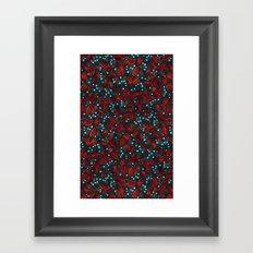 BLUE BERRIES RED LEAVES Framed Art Print