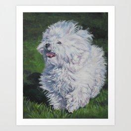 Bichon Bolognese dog art from an original painting by L.A.Shepard Art Print