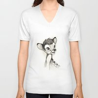 bambi V-neck T-shirts featuring Bambi by Herself