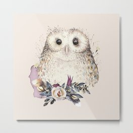 Boho Illustration- Be Wise Little Owl Metal Print