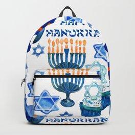 Hanukkah Pattern: Menorahs, Dreidels, and Star of David Backpack
