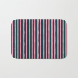 Pink and Emerald Watercolor Stripes Bath Mat