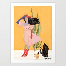 Paseando a kissi Art Print