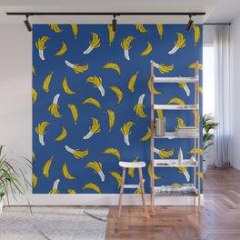 Banana pattern blue print cute minimal bananas by andrea lauren fruit drawing Wall Mural