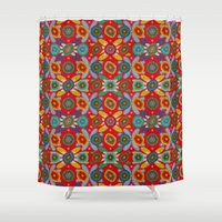 aztec Shower Curtains featuring Aztec by Helene Michau