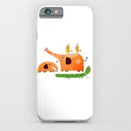 Happy Elephant /orange and green iPhone Case