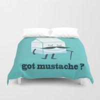 mustache Duvet Covers featuring Got mustache? by Picomodi