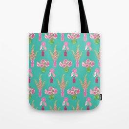Flower Vases illustrated Pattern Tote Bag