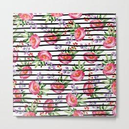 Modern black stripes pink lavender watercolor floral Metal Print