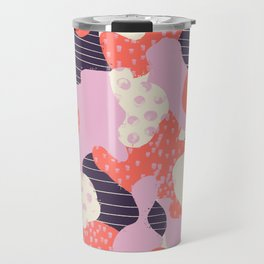 Modern abstract coral purple beige color trend camo camouflage stripes polka dots pattern Travel Mug
