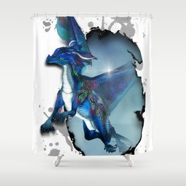 Cute Dragon in blue Shower Curtain