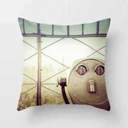 New York City Skyline Tourist Binoculars Throw Pillow