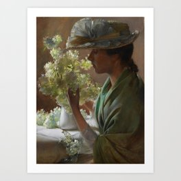 Charles Courtney Curran - Lady with a Bouquet (Snowballs) Art Print