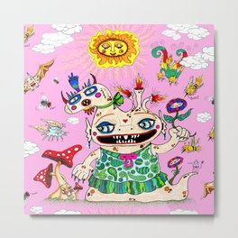 Little Baby Girl She-Beast and Friends, Pink Metal Print
