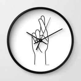 crossed fingers Wall Clock