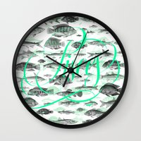pisces Wall Clocks featuring Pisces by Srg44
