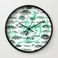 pisces Wall Clocks featuring Pisces by Sergi Ferrando