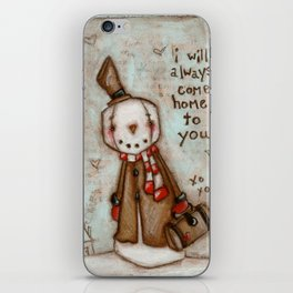 I Will Come Home - Travelin' Snowman in Love iPhone Skin