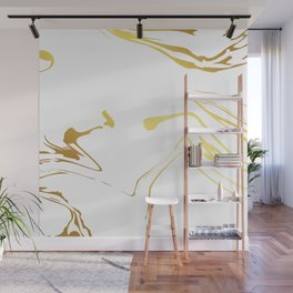 Gold and white abstract swirls Wall Mural