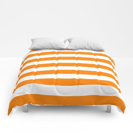 Horizontal Stripes (Orange/White) Comforters