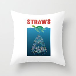 Straws Turtle Shark Straw Plastic Throw Pillow