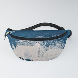 Solstice [3]: a minimal abstract mixed-media piece in blue and white by Alyssa Hamilton Art Fanny Pack