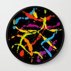 Splattered Rainbow [BLACK] Wall Clock
