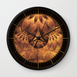 Beautiful Gold and Brown Honeycomb Fractal BeeHive Wall Clock
