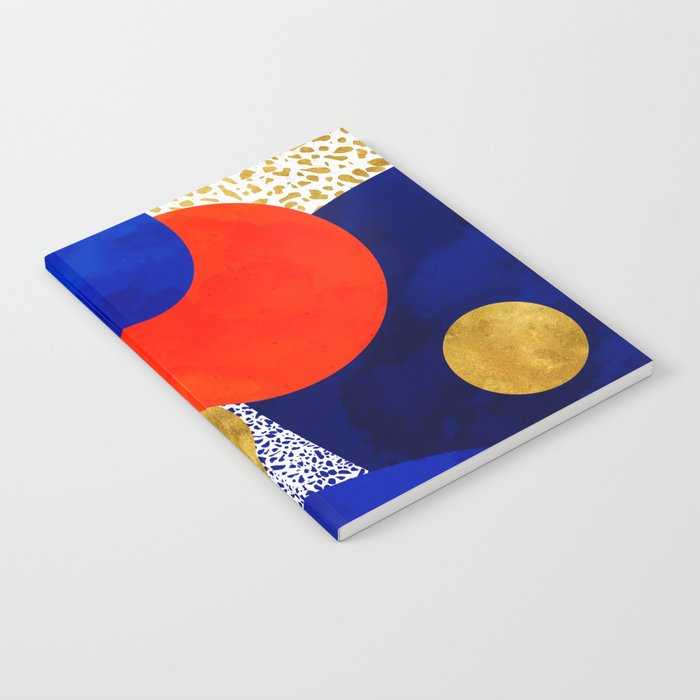 Terrazzo galaxy blue night yellow gold orange Notebook