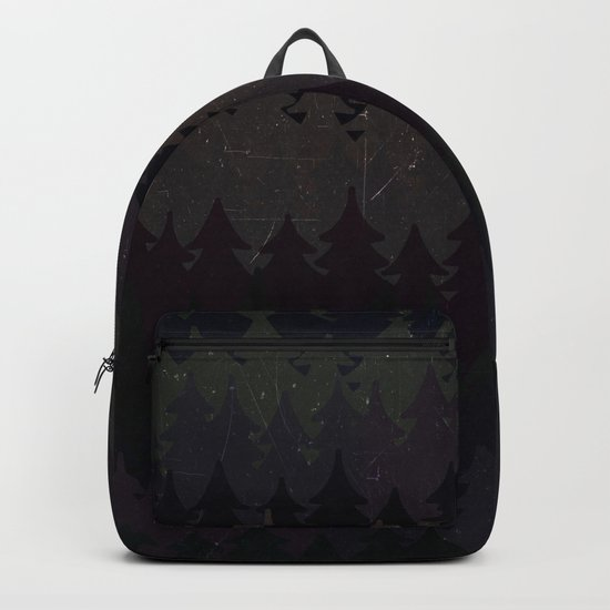 The secret forest at night - Abstract dark tree pattern Backpack