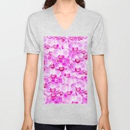 Pink Pattern Orchids Galore Unisex V-Neck