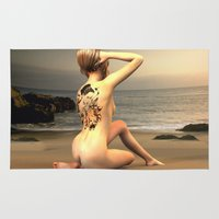erotic Area & Throw Rugs featuring erotic tattoo by flamenco72