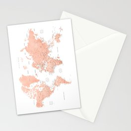 """Rose gold world map with cities, """"Hadi"""" Stationery Cards"""
