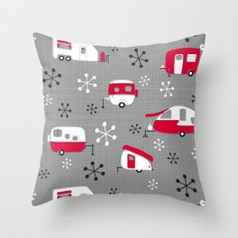 Red Campers on Charcoal Throw Pillow