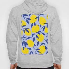 Yellow lemons on the blue sky. Vintage citrus hand drawn illustration pattern. Fruit repeated background. Hoody