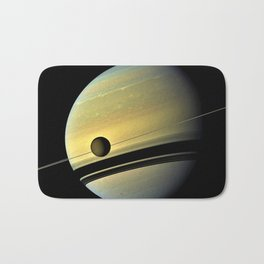 Saturn and its Moon Titan in Orbit Telescopic Photograph Bath Mat
