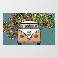 vw Area & Throw Rugs featuring VW bus by Woosah